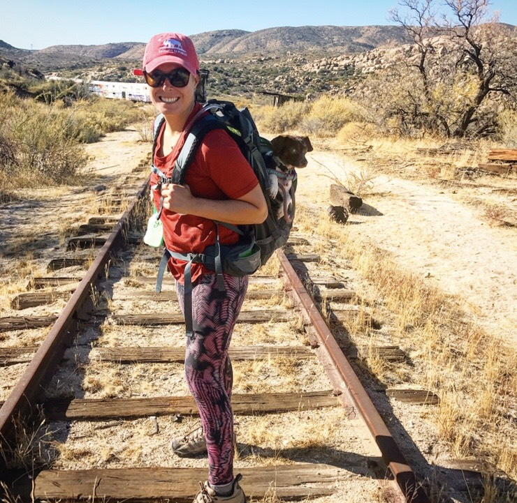 Meet my favorite hiking companion, Moo! She usually does not require a carrying pack however Goat Canyon Trestle was littered with broken glass and nails.  Did you know that short hair dogs or dogs with light colored hair need sunscreen? Avoid sunscreen with zinc as this is harmful to dogs!
