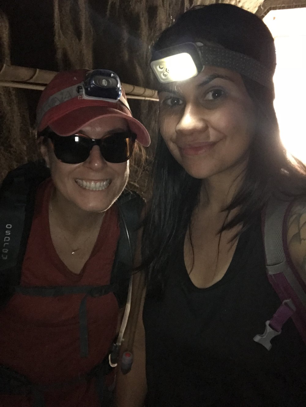 Goat Canyon Trestles. Hiking through one of the long tunnels, headlamps (and apparently sunglasses) were needed