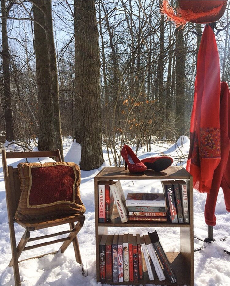 Red heels and bookshelf in the snow...makes for a winter wonderland