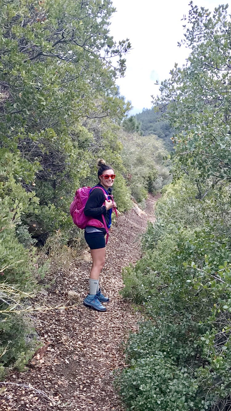 TrailBlaze Challenge Make-A-Wish training hike. Blue shoes, pink backpack, red glasses...it works right?