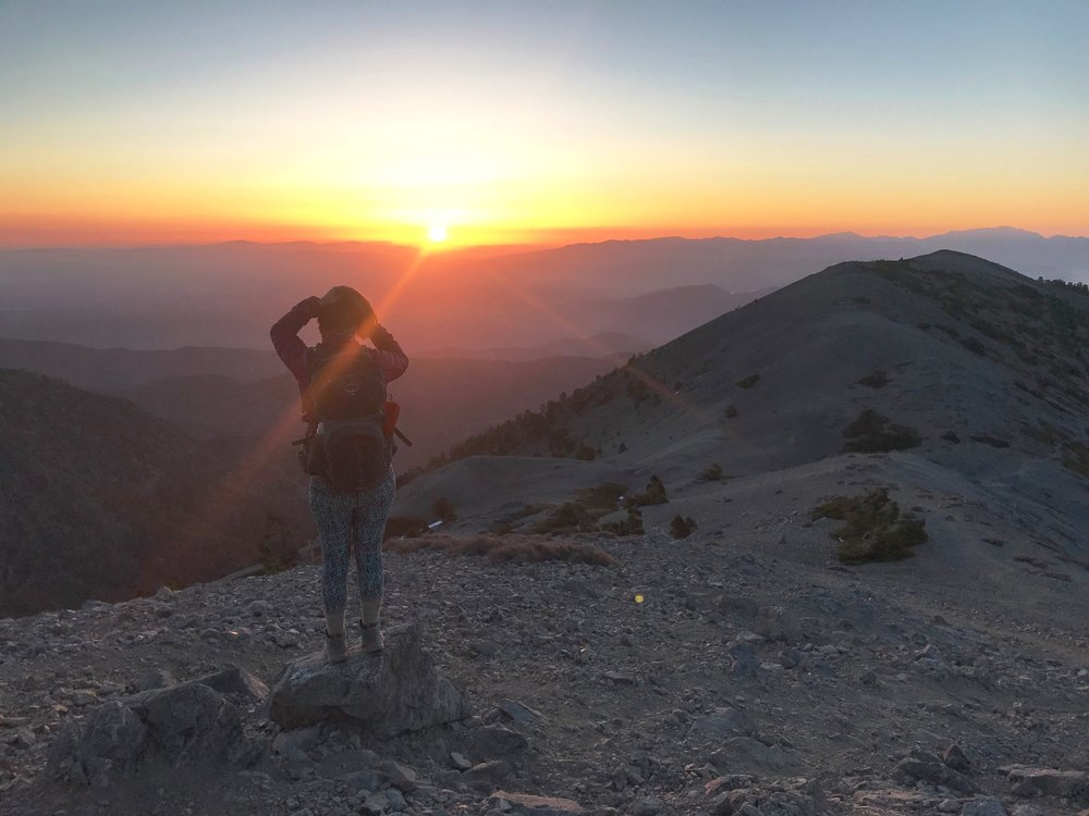 Mt. Baldy at sunrise on our 31 mile, 4 peak hike in 24 hours, #sufferfest