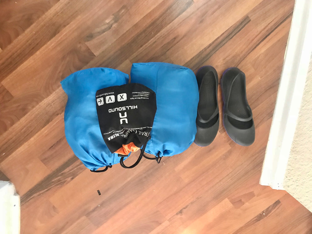 All of my gear from the previous picture fits into stuff sacks. Stuff sacks can help save space and keep your clothing dry in your pack. I use trail crampons by Hillsound for mild-moderate snow/ice conditions.