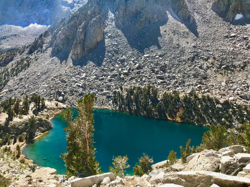 Heart Lake on our hike back out to Onion Valley (perfect weather on day 3).