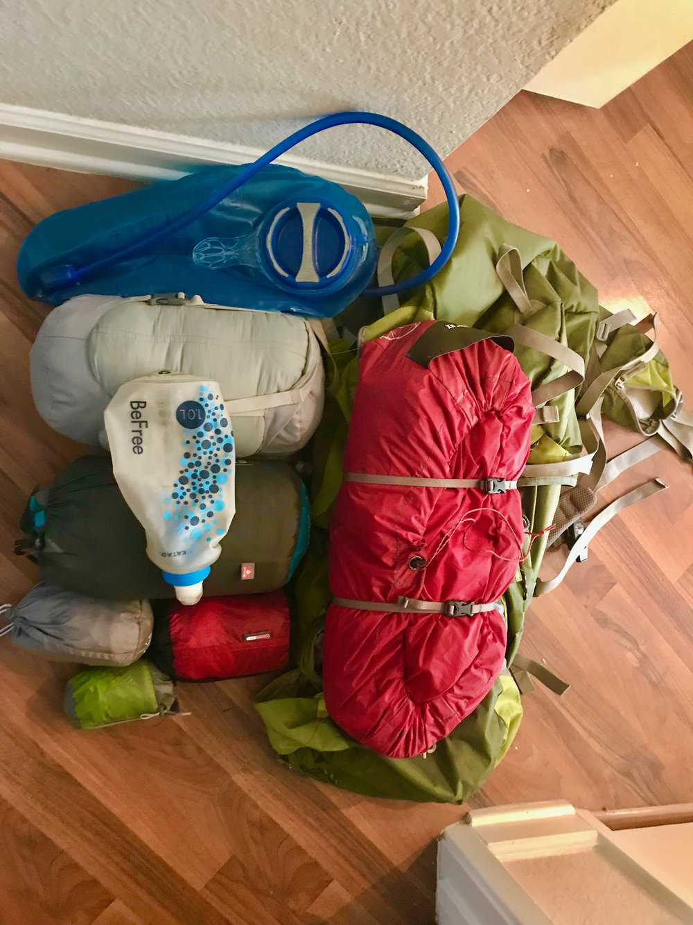 Tent, sleeping mat, sleeping bag, water filter, pillow, sleeping bag liner and pack. For a list of my specific gear items,  check out my gear list on a past blog post . One of my favorite winter gear items in my Sea to Summit Thermoreactor sleeping bag liner.