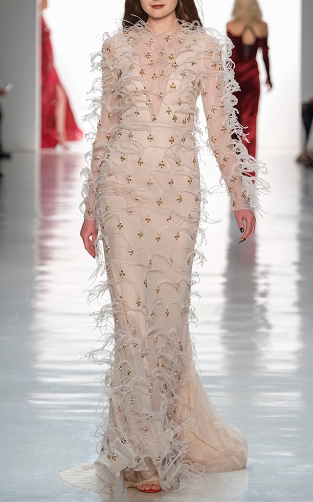 Bibhu Mohapatra Feather And Ruby Embroidered Silk Gown — BIBHU