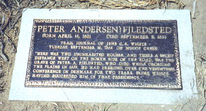 "7. Made August 23, 1997 at Muddy Creek, WY. Detail of Fjeldsted Grave Marker   SW of Ft. Bridger, WY.   Photograph by Steve Berlin.  The marker reads:   PETER ANDERSEN FJLEDSTED  BORN APRIL 14, 1821 DIED SEPTEMBER 9, 1859  TRAIL JOURNAL OF JENS C.A. WEIBYE TUESDAY, SEPTEMBER 16, 1862 ON MUDDY CREEK  ""HERE WAS TWO UNINHABITED HOUSES, AND THERE A SHORT DISTANCE WEST ON THE NORTH SIDE OF THE ROAD, WAS THE GRAVE OF PETER A. FJELDSTED, WHO DIED WHILE CROSSING THE PLAINS IN 1859. HE HAD PRESIDED OVER THE VENDSYSSEL CONFERENCE IN DENMARK FOR TWO YEARS. ELDER WEIBYE HAVING SUCCEEDED HIM IN THAT PRESIDENCY.""  The correct spelling of the name is Fjeldsted."
