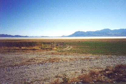 6. Made 10/18/97 , just east of Lucin, UT.Salt Desert from Donner Spring N. of Wendover, UT. Photograph by Steve Berlin.  These salt flats east of Donner Spring, 8-10 miles wide, were the last great, dry barrier on the Long Drive to be crossed before reaching sweet water. Far out on the salt, flagging, stuporous animals could sometimes smell the distant water for miles and had to be restrained from running toward the salvation they sensed. Exhausted and suffering men, women and children who had made the crossing finished these last miles with renewed hope. From Donner Spring many returned across the salt bearing water to slake the thirst of struggling comrades and animals and sometimes to save their lives.