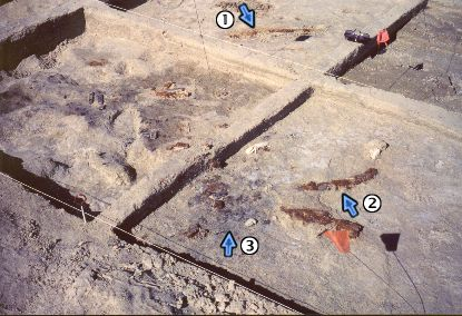 21. Made 11/5/86, Great Salt Lake Desert, Utah. Wagon Mound Archaeological Excavation.   Photograph: Copyright © 1986 Roy D. Tea.   Archaeological excavation of a wagon mound by Silver Island Expedition. The semi-circular segments of rust (1 & 2) are all that remain of a wagon wheel. The wagon had been burned - note the black charcoal at lower center (3).