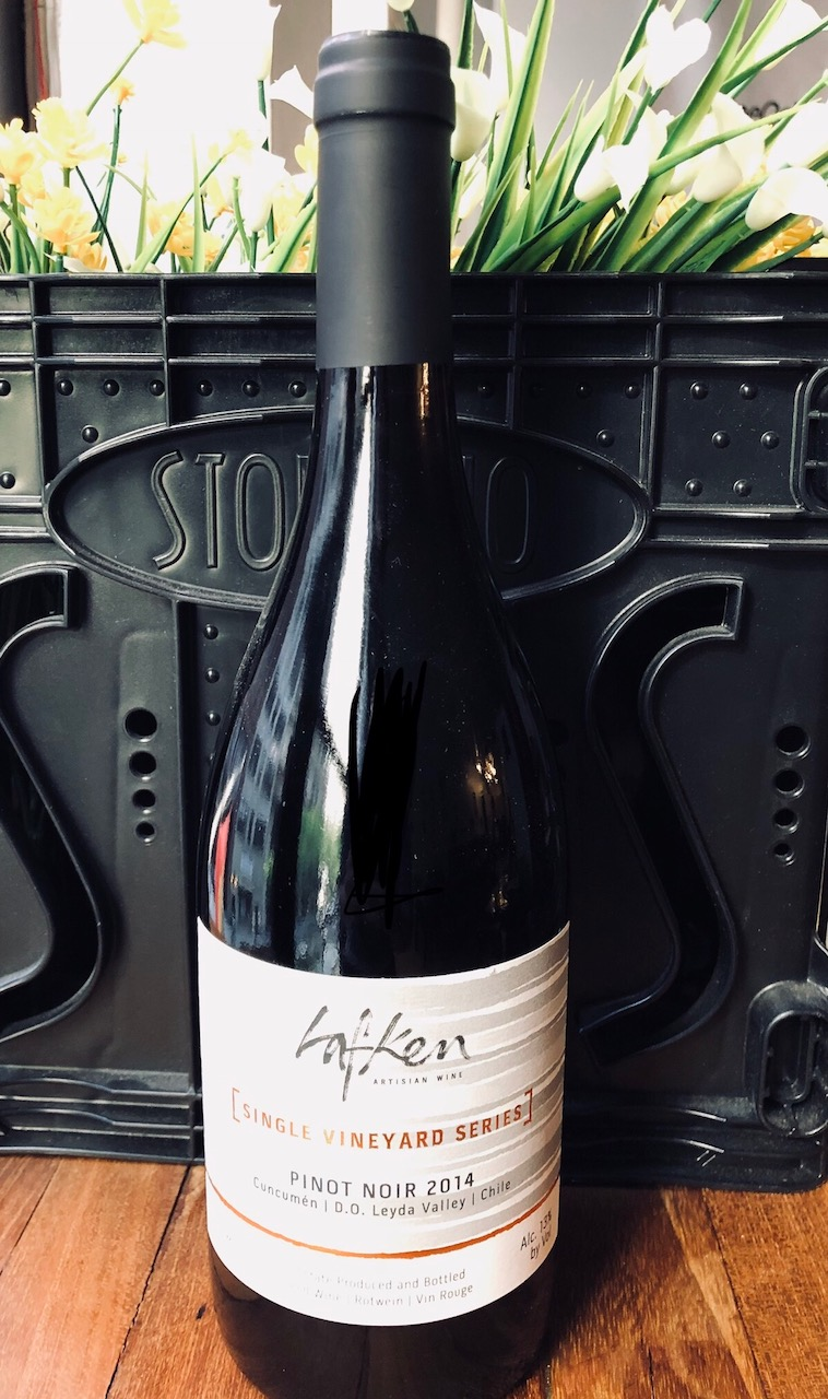 $135  - * 6 bottles of Lafken Pinot Noir* Includes shipping and taxes* Only available for WineO Club members  Tasting NotesMedium-red color, with a slight orange tint, typical of Burgundian-style Pinot Noir. Aromas of dark cherries, red plums and a hint of nutmeg. On the palate, notes of blackberries and dark chocolate with smoky and mineral notes in the finish.