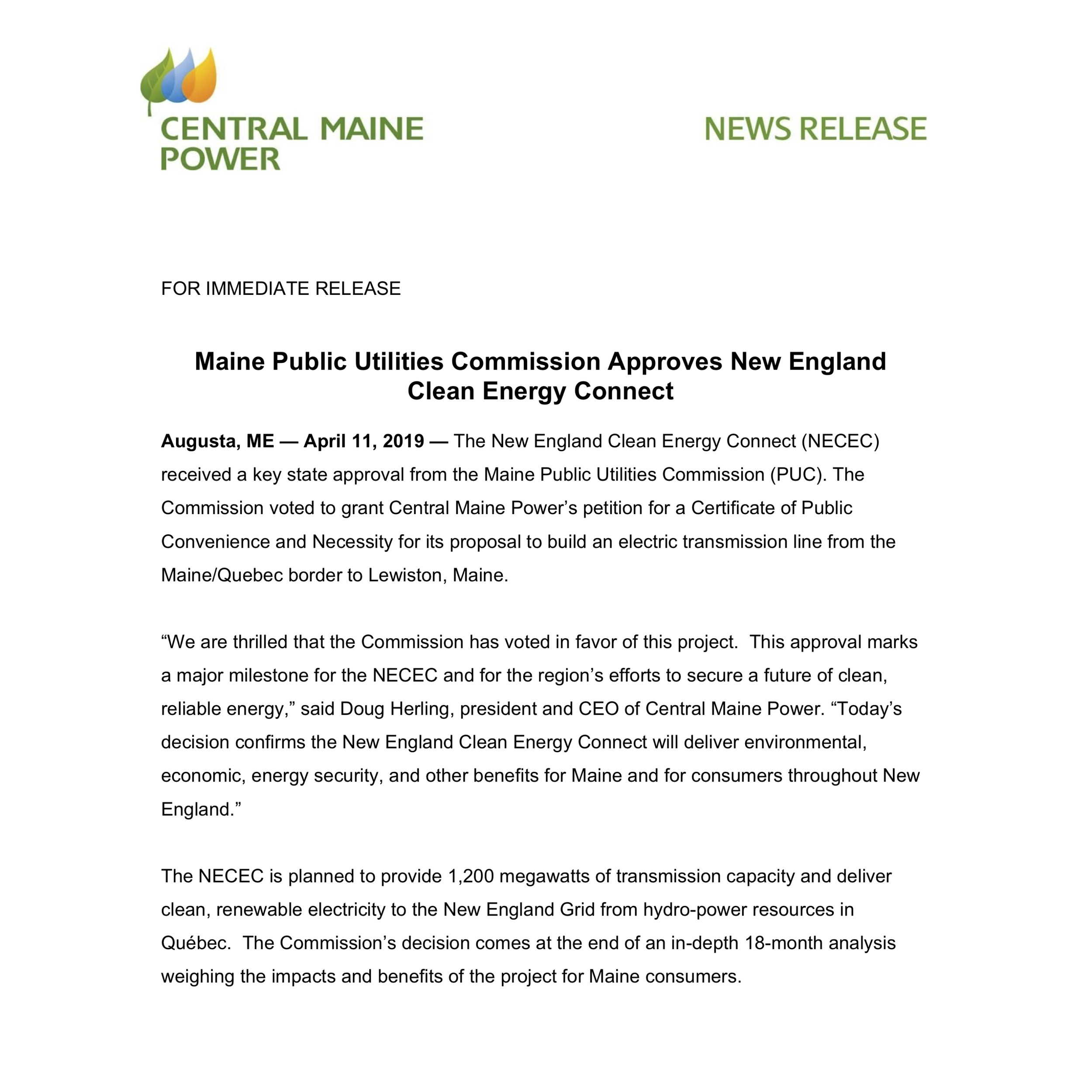 Maine Public Utilities Commission Approves New England Clean Energy