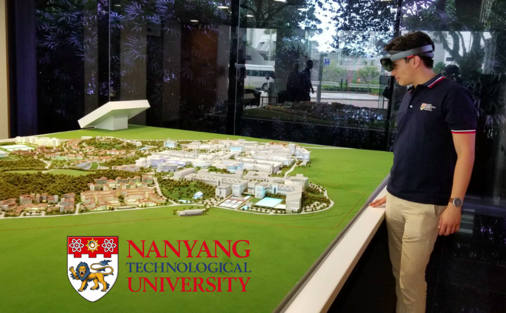 Aeronyde CEO Edgar Muñoz uses a Hololens to visualise drone traffice over the Nanyang Technological University campus.