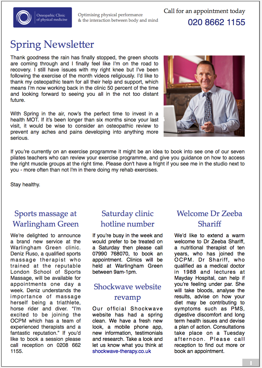 Osteopathic Clinic Newsletter