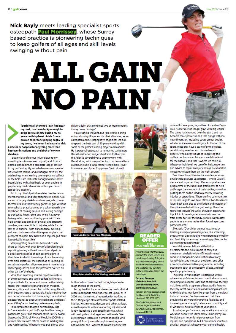 OC in the News - Pain Free Golfing