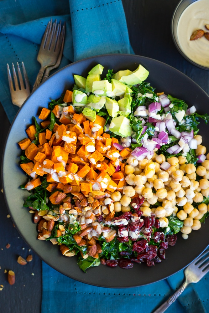 Kale Power Salad with Lemon Tahini Dressing  via She Likes Food