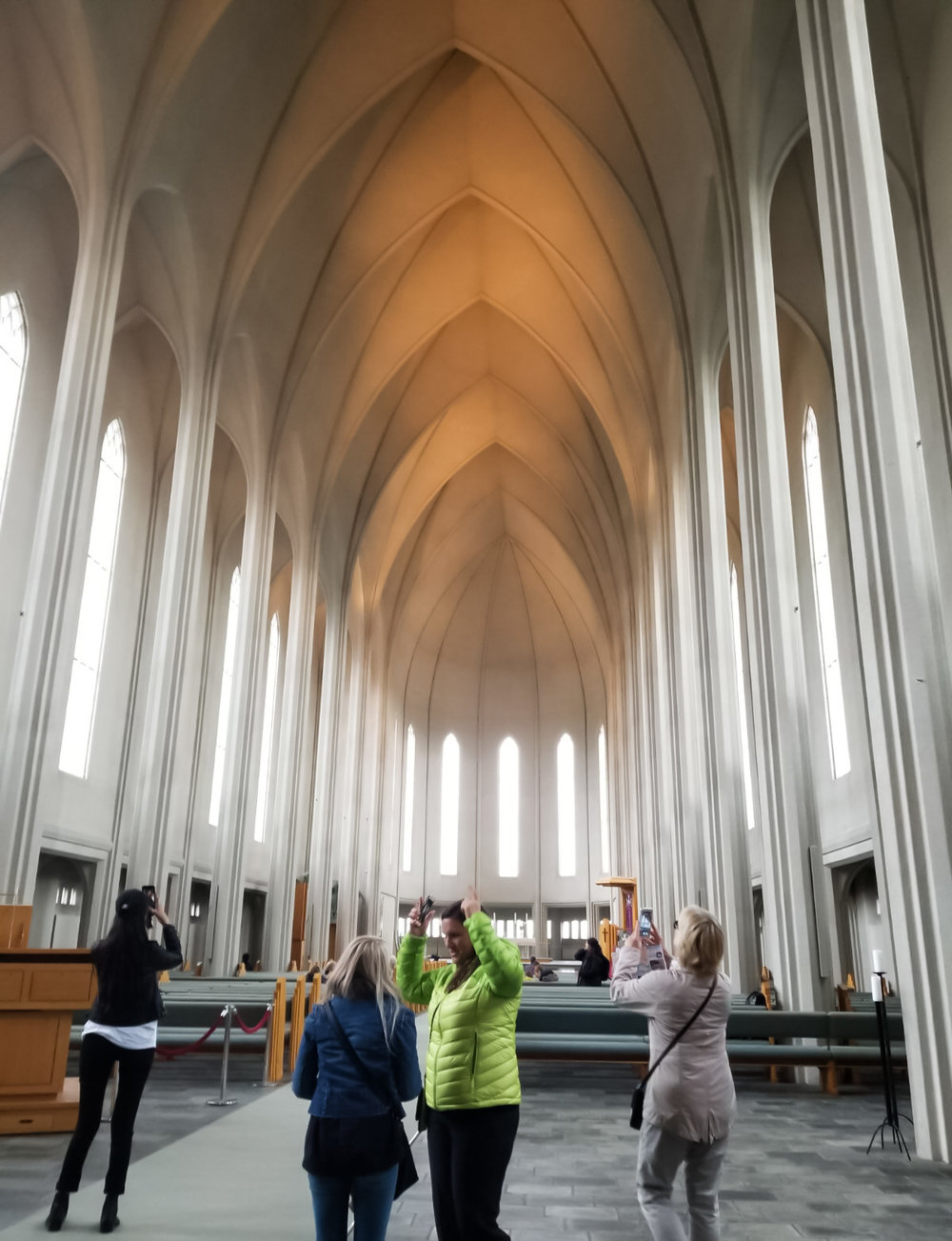 Kim explaining something really interesting to me inside of the Hallgrimskirkja Cathedral