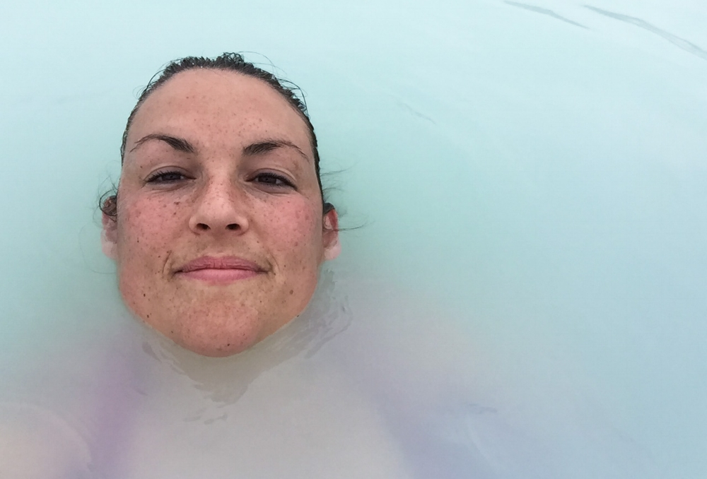 My pretty freckly friend enjoying her soak in the lagoon