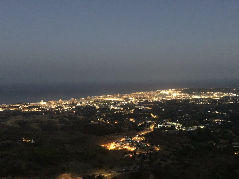 Nightly view of lower Mijas from upper Mijas