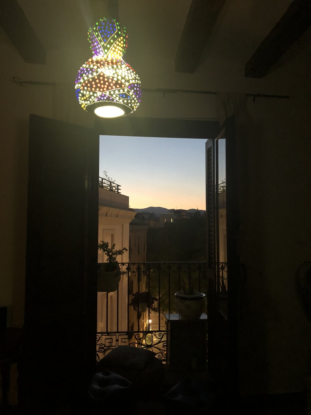 Sunset street view from the Airbnb