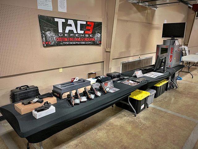 Gun show day! Come see us in Batesville, AR.  #tac3 #tac3defense #gunshow #customguns #laserengraving #laserstippling #glock