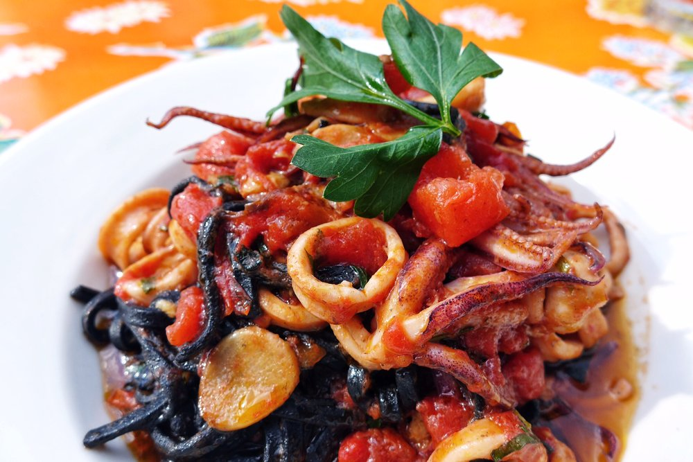 Black Linguine with Calamari