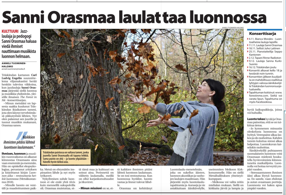 Länsiväylä 31.10.2018.  Linkki artikkeliin.