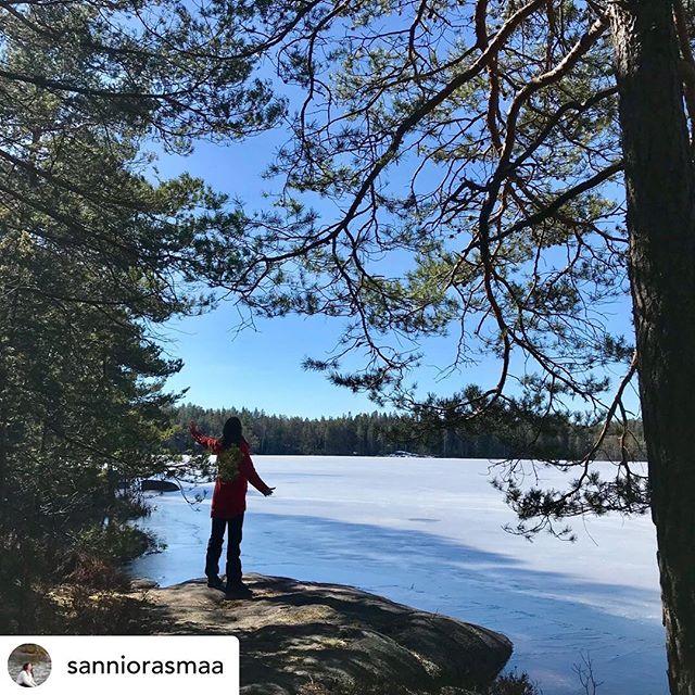 Posted @withrepost • @sanniorasmaa Vielä pakastaa öisin, mutta kevätaurinko lämmittää jo kangasta niin, että polut alkavat olla lumesta paljaat. Tänään minulla oli matkassani laulaja, joka halusi kokeilla, miten luonto voisi tukea häntä tulevassa esiintymisessä.  Lue blogista mitä teimme: www.luontolaulu.fi/luontolaulu-blog
