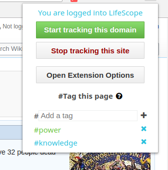 Browser extension with tagging section shown
