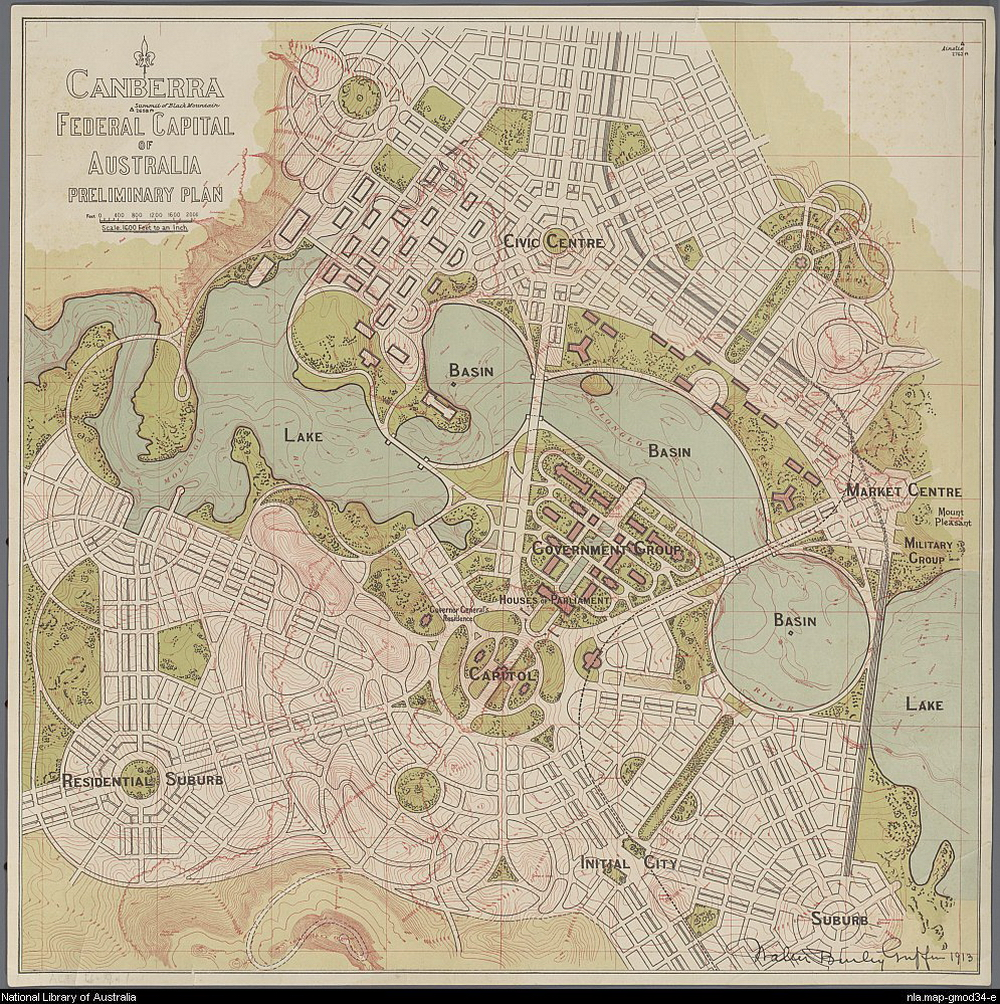 Preliminary (1913) design of Canberra ACT, by Walter Burley Griffin, showing concept plan for Lake Burley Griffin with original path of the Molonglo River just visible