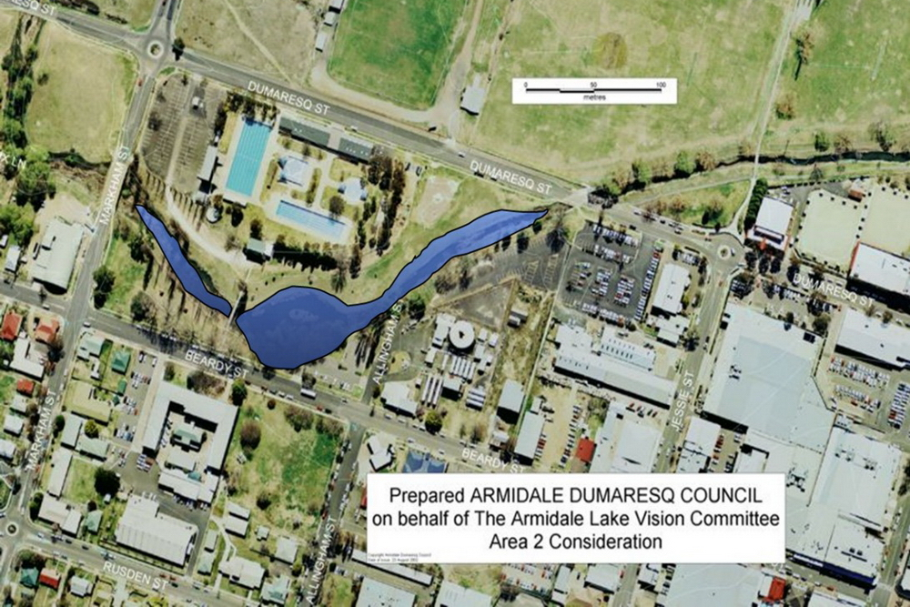Candidate area 2 - north of TAFE - proposed by Armidale Lake Vision committee in 2002