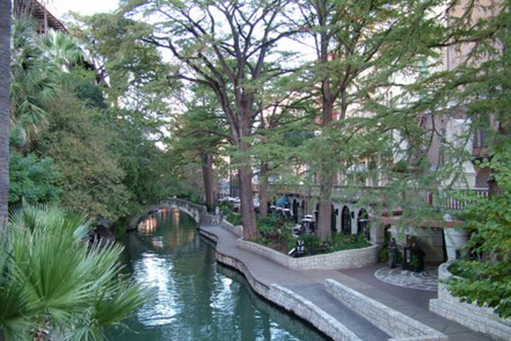 San Antonio, Texas, USA - river walk along 4 km. River through city was modified to prevent flooding after a devastating flood in 1921. Read more about it on Wikipedia  here .