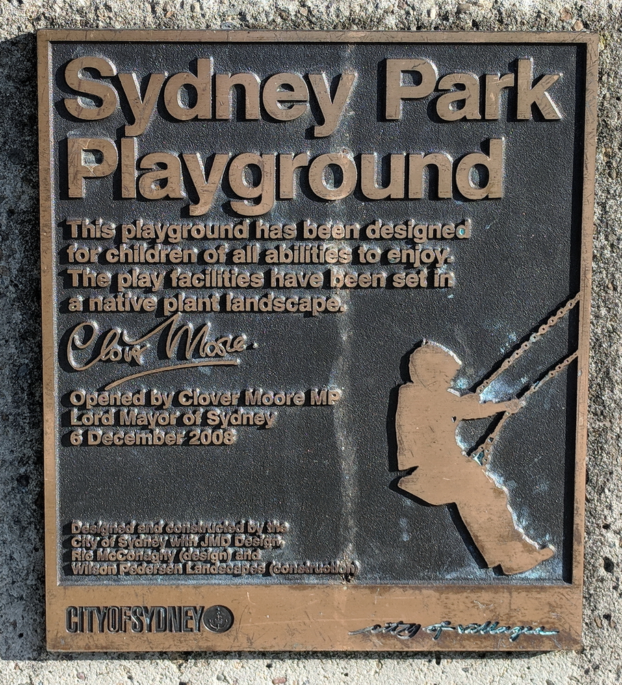 Plaque commemorating opening of Sydney Park Playground (2008) by Mayor Clover Moore