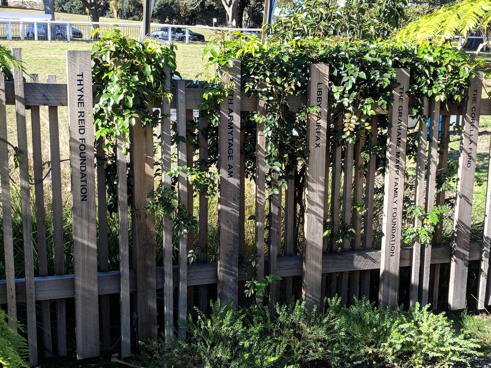 This fence around the garden acknowledges the benefactors who supported the creation of the WILD PLAY garden - this image shows just a few of the benefactors