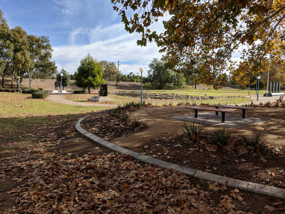 Pond adjacent to playground
