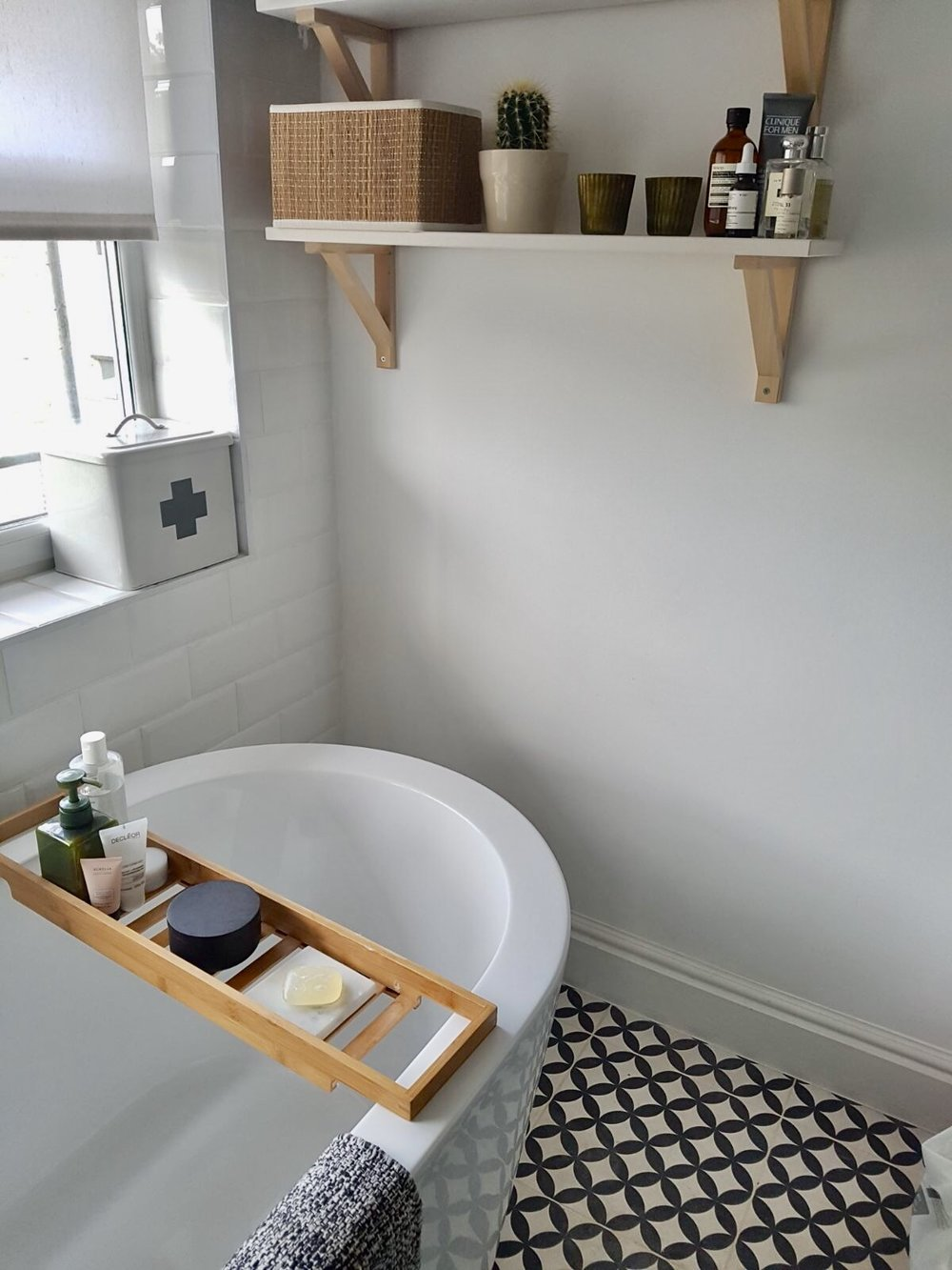 Bath caddies keep everything tidy and within easy reach