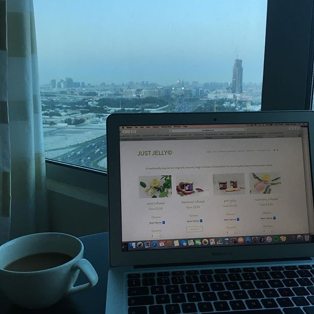 Just Jellying with a view 🏙 • • #dit #trademisson #uae #dubai #gulfood #expo #trade #export #smallbusiness #justjelly #condiments #finefood #startup #brand #work #love #lovewhatyoudo #skyline #view #amazing