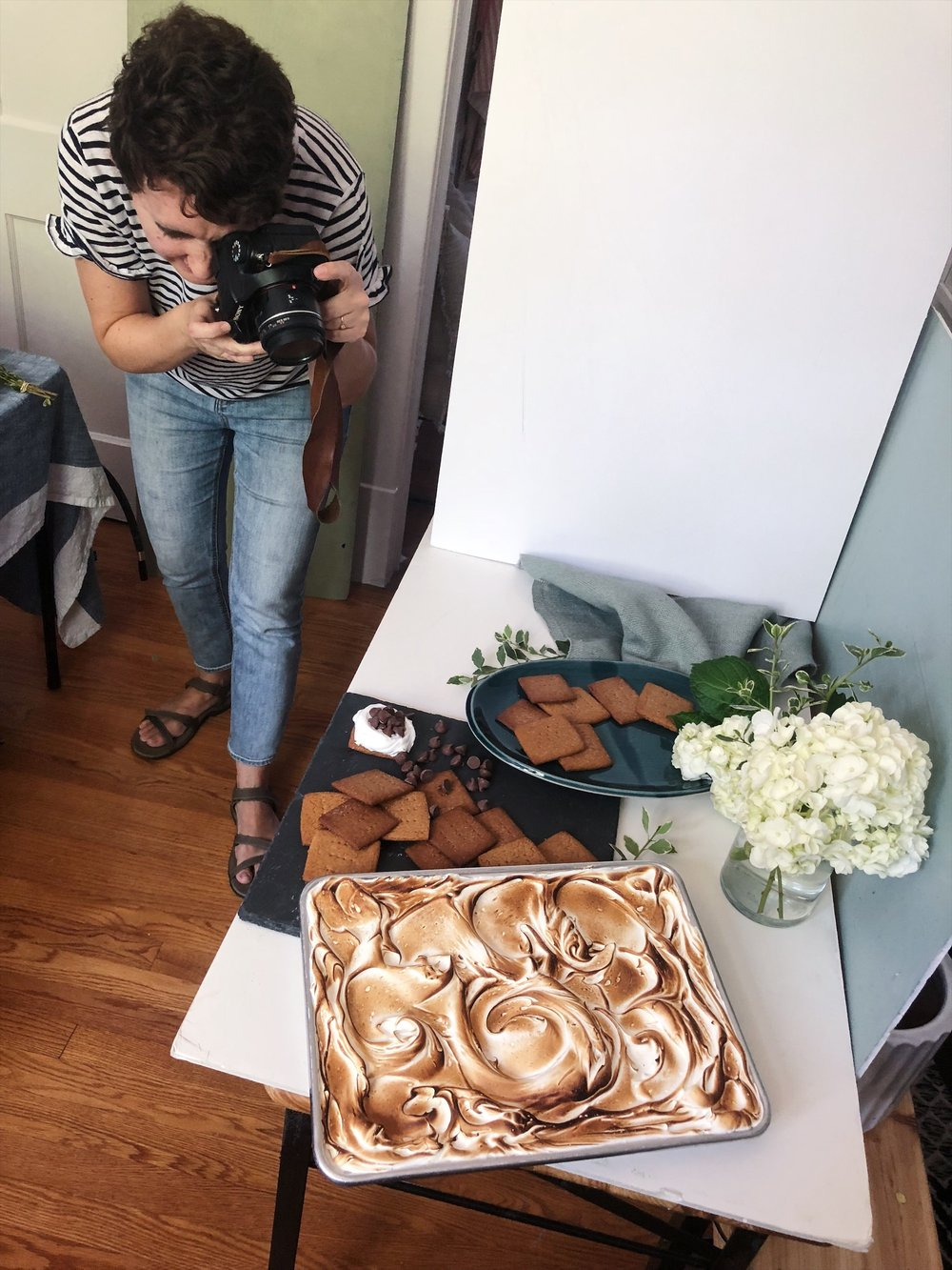 Michelle Smith styling and shooting the S'more Bar recipe that I wrote, leading up to Kitchen Conversations, on the Gather website.