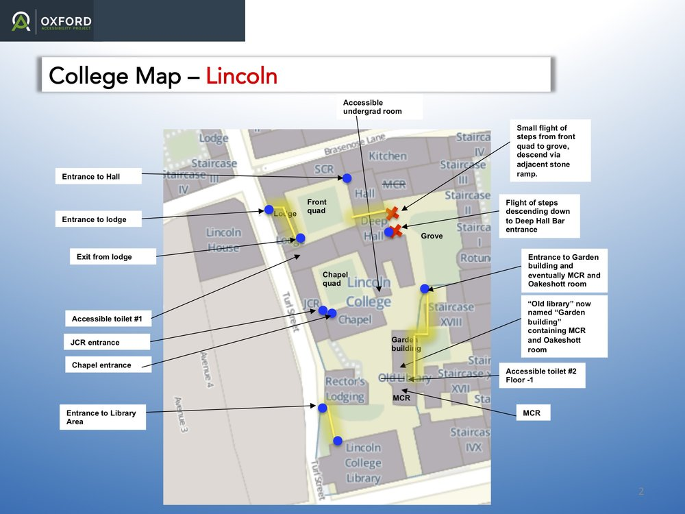 Map of College Grounds, Lincoln College, University of Oxford