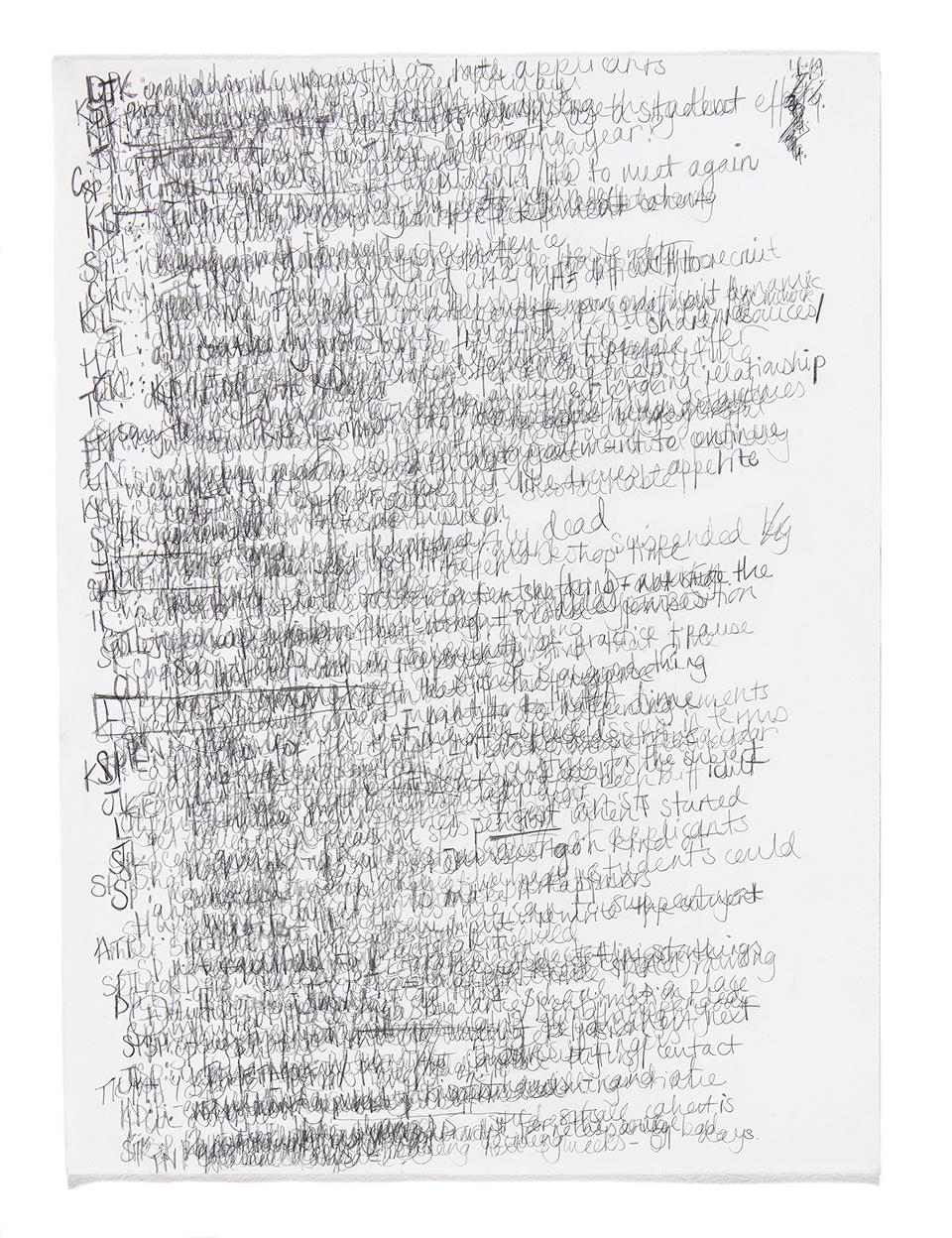 Minutes , 41 x 58cm (pencil on blotting paper)
