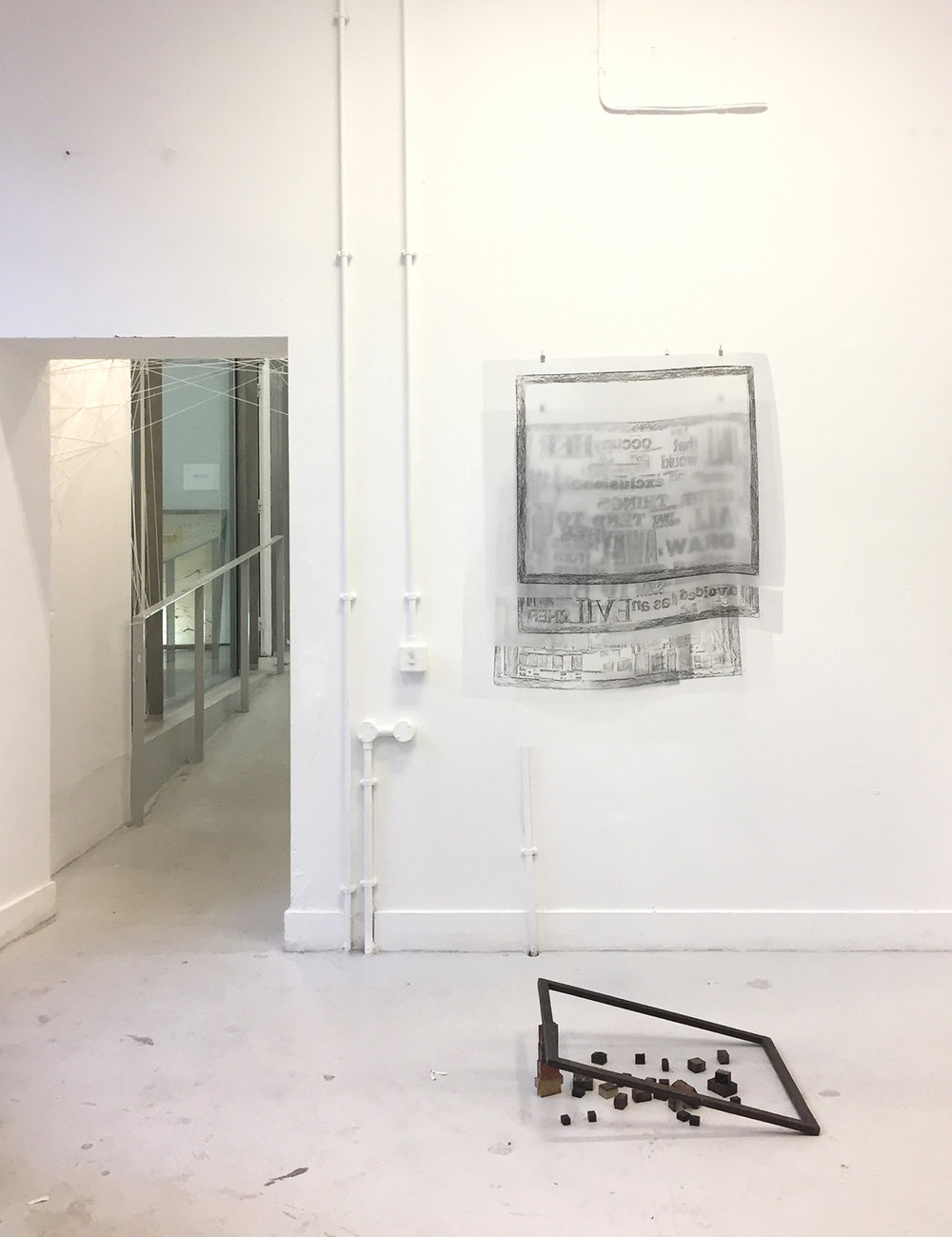 Draw Her Thoughts - Rubbings on tracing paper, graphic on paper, printing frame and movable type (installation view at Chelsea Cookhouse, April 2018)