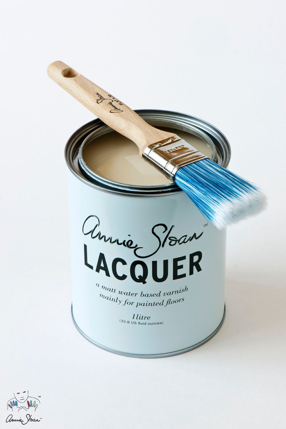Annie Sloan™ Lacquer - Annie Sloan Lacquer is a strong water-based varnish. It is particularly good on interior wood and concrete floors that have been painted with Chalk Paint®. It is quick drying, non-toxic, non-yellowing, and has very little odor. It is different from other varnishes in that it is a penetrating sealer made to soak into the paint rather than sits on top like other varnishes. When dry, it gives a beautiful matte finish with a slight sheen for added strength.