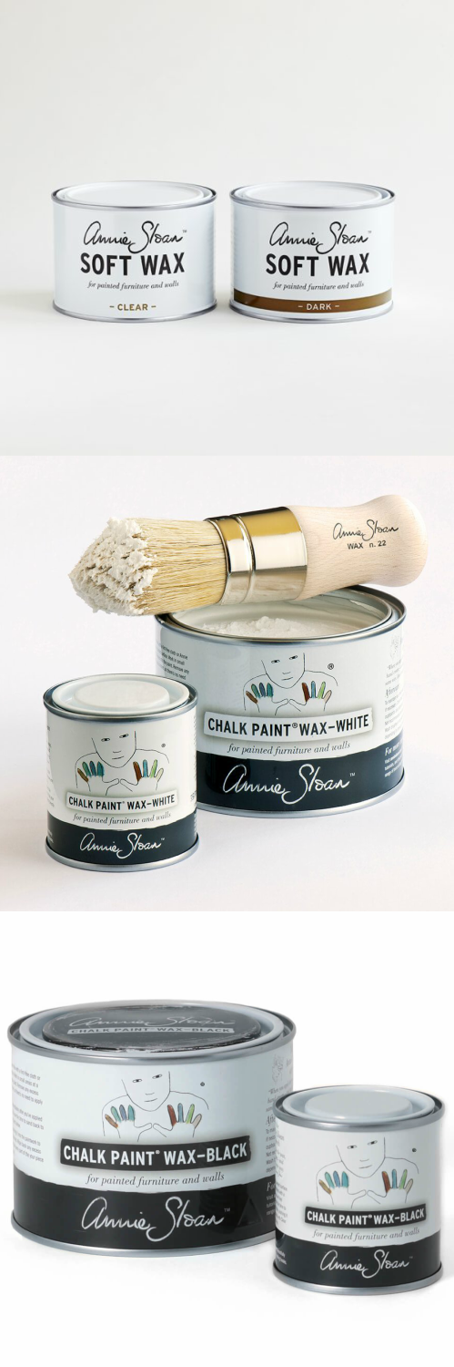 Annie Sloan™Soft Wax - Annie Sloan Soft Wax is the perfect partner for Chalk Paint®. Soft Wax is used for protection and durability and to give a beautiful mellow finish to painted furniture, cabinets, and walls. You can easily apply one or two thin coats of Soft Wax with a brush or cloth. It has the consistency of soft margarine and has very little odor. I recommend applying Soft Wax with a Wax Brush as you will use less wax (if using a cloth it will absorb some of the wax) and make the application easier.Annie Sloan Soft Wax combines the best of synthetic and natural ingredients, including beeswax, natural resin, synthetic waxes, and mineral waxes. It's available in both Clear, Dark and now Black and White formulations, and can even be further colored with Chalk Paint®. Soft Wax is water-repellent, too. Easy to maintain and repair; if any damage to the surface should occur, it can be easily touched up.Annie recommends distressing Chalk Paint® by applying Soft Wax first, then sanding. Remember too, that Soft Wax is always the final step – no other product can be used on top of it.