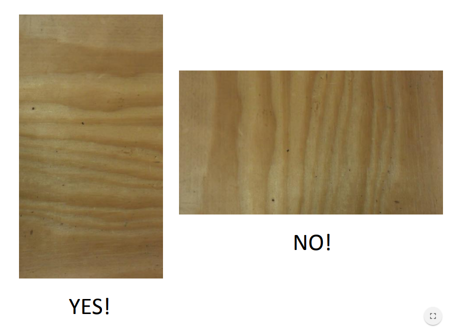 "- Depending on the thickness of the plywood, you may have to pay attention to the grain. We used ½"" plywood which consists of three layers. Because of this, you need to layer the grain perpendicular to your frame. If you use ¾"" (recommended) then this shouldn't be a problem."