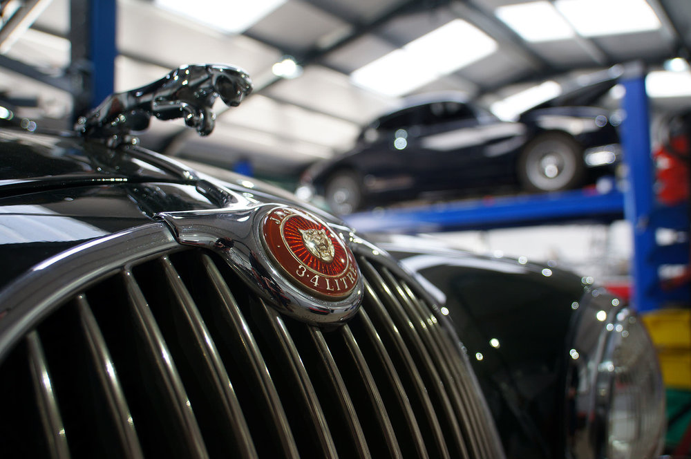 Jaguar in workshop at M&C Wilkinson for Sayer Selection