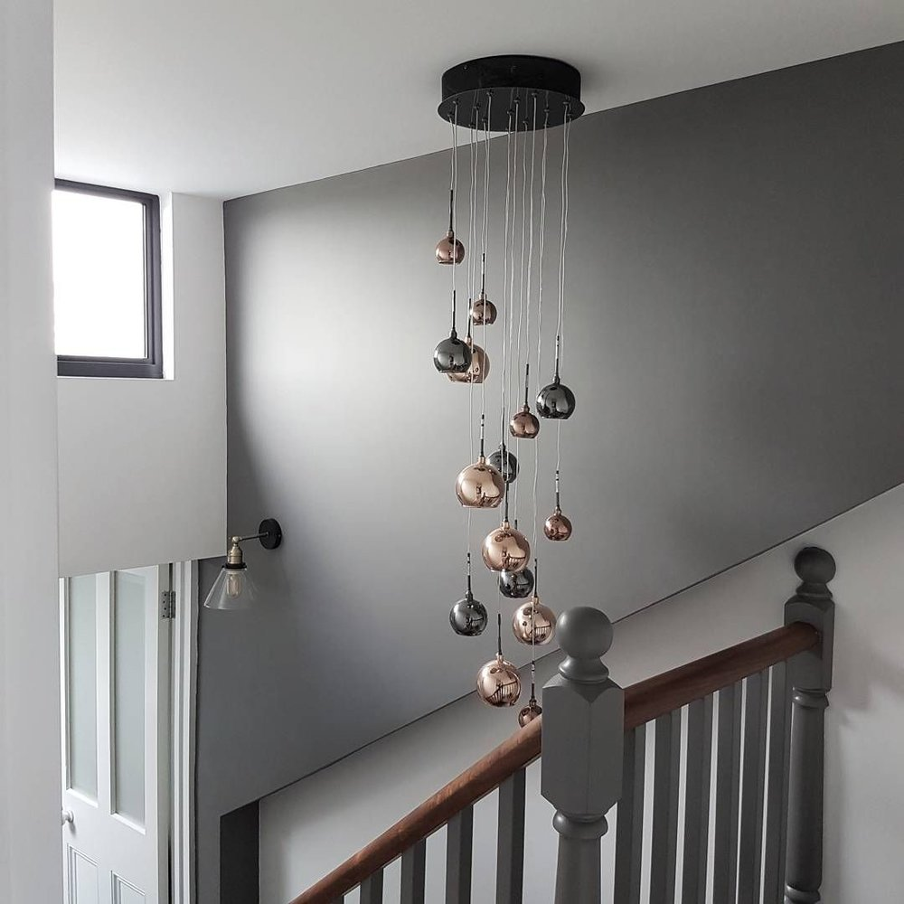 Wall colour - 'Dark Lead' & 'Shirting' Little Greene ..... Ceiling light - lovelights.co.uk ..... Wall light - iconiclights.co.uk