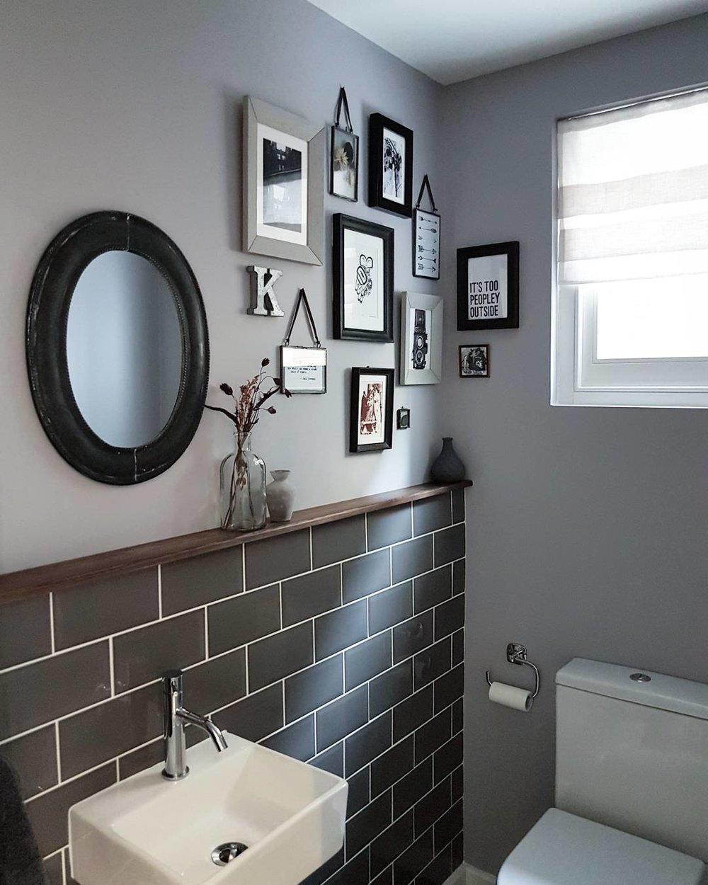 Wall paint - 'Welcome Dark' Little Greene ..... Tiles - Tons of Tiles ..... Mirror- Notonthehighstreet