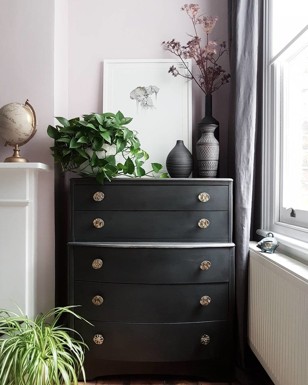 Drawers painted in 'Graphite' Annie Sloan ..... Print - (By Simon Webb) Curious Duke Gallery ..... Round vase - Abigail Ahern