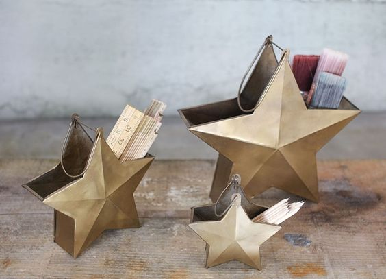 Large Brass Star Pot £29.95  I love these Abesso brass star pots, they promise to add elegance to small storage. Dress your desk or shelf and fill them with pens, paint brushes and other useful items.    www.hilaryandflo.co.uk