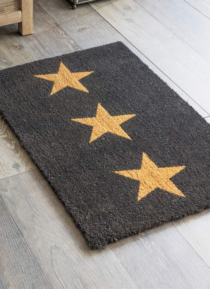 Doormat, 3 Stars (Large- in Charcoal) - £25.00  Crafted in Coir this 3 Stars doormat is a striking way to greet guests as they enter the house.    www.gardentrading.co.uk