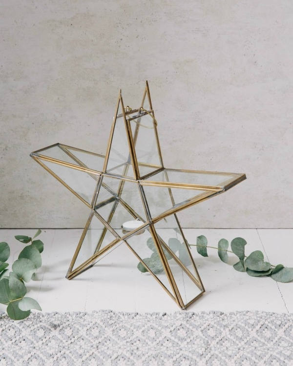 Rustic Standing Star Tealight Holder (medium) - £44.95  Each one is handmade in glass and brass with an antique finish. (35 x 37.5 x 8cm)   www.roseandgrey.co.uk