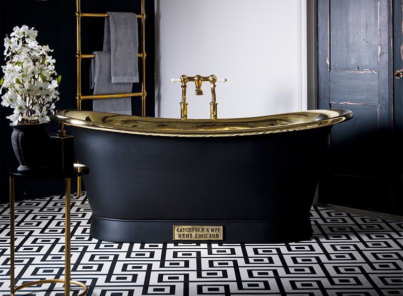 This divine charcoal painted with brass interior finish bateau bath is top of Phoebes wish list for her bathroom.......'The bath has always been my safe place and ever since I can remember I have always bathed everyday, never showered. It is somewhere I retreat to when I am tired, I lounge in before a fun event and I watch films in to distract myself if my anxiety is getting a little bit too much. We have just bought a new house and the first room that is due a renovation is the bathroom, this bath is top of the list. Has to be in black, with the brass interior. I would spend many an hour in that!' ...... Wouldn't we all, its the bath of dreams!